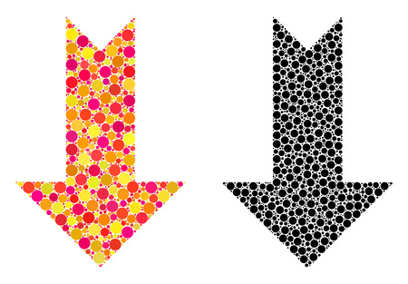 Dot arrow down mosaic icons. Vector arrow down icons in colorful and black versions. Collages of irregular circle spots. Vector collages of arrow down images formed of irregular small spheres.