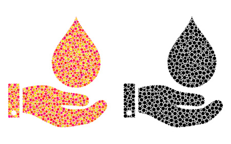 Dot water service mosaic icons. Vector water service icons in bright and black versions. Collages of randomized round spots. Ilustração