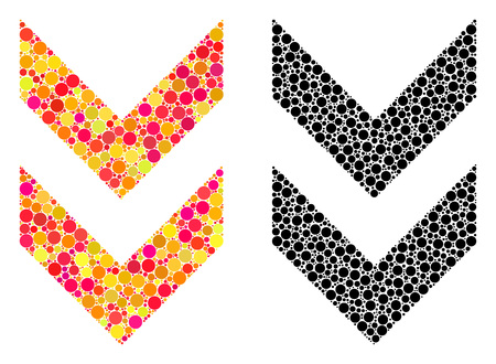 Dot shift down mosaic icons. Vector shift down icons in multi-colored and black versions. Collages of variable spheric dots. Vector collages of shift down images composed of variable small spheres. Ilustração