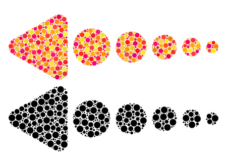 Dotted arrow left mosaic icons. Vector arrow left pictograms in bright and black versions. Collages of arbitrary circle dots. Vector collages of arrow left icons constructed of randomized round dots. Çizim
