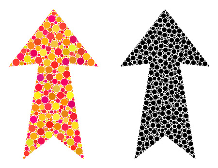 Pixel arrow up mosaic icons. Vector arrow up icons in bright and black versions. Collages of casual circle spots. Vector collages of arrow up images created with scattered circle elements.