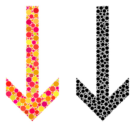 Dotted arrow down mosaic icons. Vector arrow down icons in multi-colored and black versions. Collages of randomized round elements. Vector mosaics of arrow down icons formed of arbitrary round pixels.
