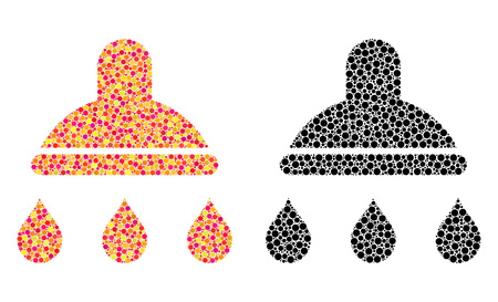 Pixel shower mosaic icons. Vector shower icons in bright and black versions. Collages of arbitrary circle spots. Vector collages of shower icons designed of scattered spots.