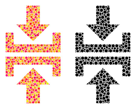 Pixel press vertical direction mosaic icons. Vector press vertical direction icons in colorful and black versions. Collages of casual circle spots.