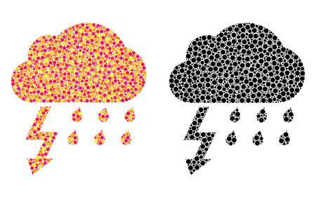 Pixel thunderstorm mosaic icons. Vector thunderstorm pictograms in multi-colored and black versions. Collages of variable circle elements.