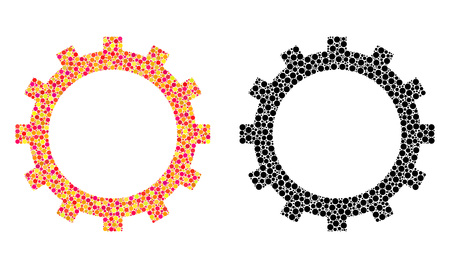 Dot gear mosaic icons. Vector gear icons in colorful and black versions. Collages of arbitrary spheric spots. Vector mosaics of gear icons made of arbitrary spots.