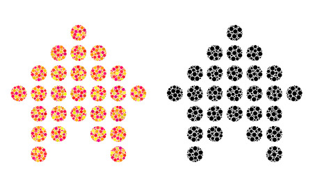 Pixel dotted arrow up mosaic icons. Vector dotted arrow up icons in multi-colored and black versions. Collages of irregular round spots.