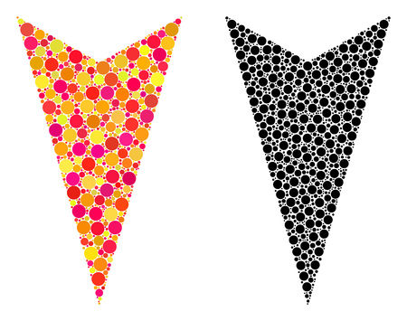 Dotted arrowhead down mosaic icons. Vector arrowhead down icons in colorful and black versions. Collages of different round dots.