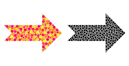 Dotted arrow right mosaic icons. Vector arrow right icons in multi-colored and black versions. Collages of different round dots. Illustration