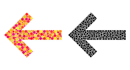 Dotted arrow left mosaic icons. Vector arrow left icons in multi-colored and black versions. Collages of variable circle elements. Vectores
