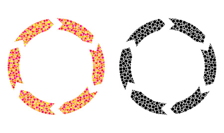 Pixel circulation mosaic icons. Vector circulation icons in bright and black versions. Collages of random spheric spots. Vector concepts of circulation icons designed of random circle elements.
