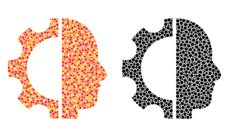 Dotted cyborg gear mosaic icons. Vector cyborg gear icons in bright and black versions. Collages of variable round spots. Vector mosaics of cyborg gear images composed with variable round pixels.