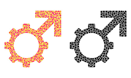 Dot technological potence mosaic icons. Vector technological potence pictograms in colorful and black versions. Collages of arbitrary circle elements.