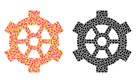 Dot gear mosaic icons. Vector gear icons in bright and black versions. Collages of irregular round dots. Vector concepts of gear icons constructed of arbitrary round elements. Çizim