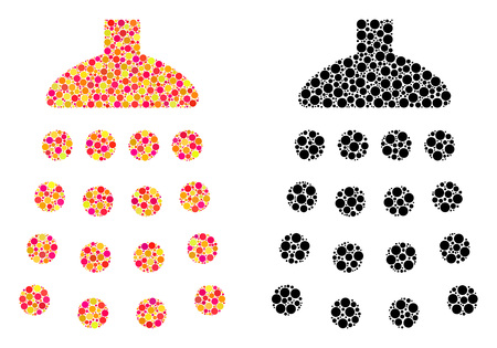 Dot shower mosaic icons. Vector shower pictograms in bright and black versions. Collages of arbitrary circle spots. Vector collages of shower images designed of arbitrary spots. Çizim
