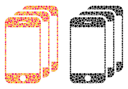 Dot mobile phones mosaic icons. Vector mobile phones icons in bright and black versions. Collages of irregular circle dots. Vector concepts of mobile phones icons organized of arbitrary round dots. Illusztráció