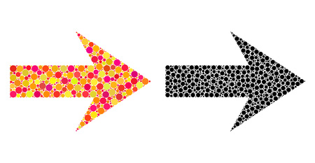 Dot arrow right mosaic icons. Vector arrow right icons in multi-colored and black versions. Collages of arbitrary round dots.