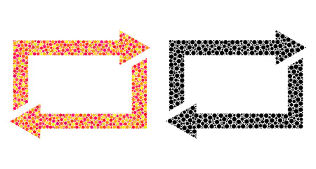 Dot exchange arrows mosaic icons. Vector exchange arrows icons in bright and black versions. Collages of different round spots. Stock Illustratie