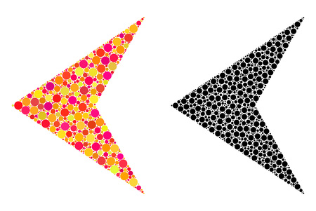 Dot arrowhead left mosaic icons. Vector arrowhead left icons in bright and black versions. Collages of arbitrary spheric dots. Çizim