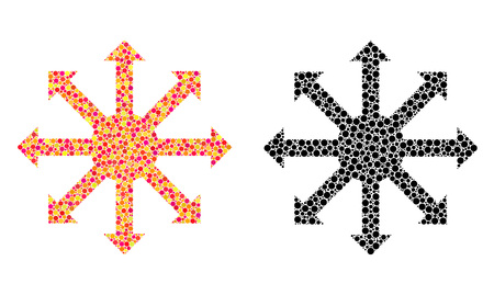 Dotted radial arrows mosaic icons. Vector radial arrows icons in colorful and black versions. Collages of arbitrary spheric spots. Çizim