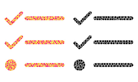 Dot checklist mosaic icons. Vector checklist pictograms in multi-colored and black versions. Collages of different round spots.