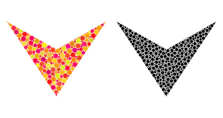 Pixel arrowhead down mosaic icons. Vector arrowhead down icons in colorful and black versions. Collages of casual round spots. Ilustração