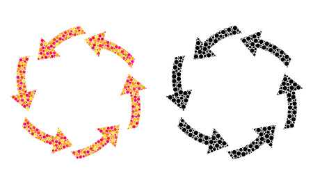 Dot circulation mosaic icons. Vector circulation pictograms in bright and black versions. Collages of arbitrary circle elements.