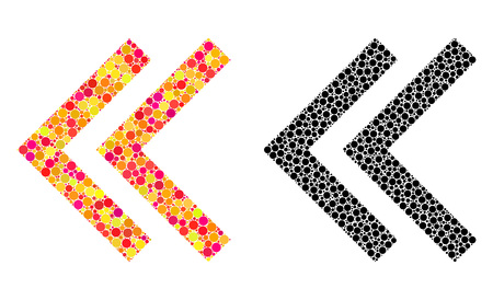 Dotted shift left mosaic icons. Vector shift left icons in bright and black versions. Collages of arbitrary round elements. Vector collages of shift left icons constructed of irregular round pixels.
