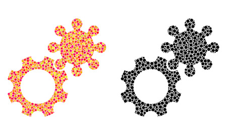 Dotted gears mosaic icons. Vector gears icons in colorful and black versions. Collages of different round elements. Vector collages of gears icons composed with irregular round elements.