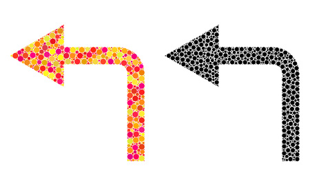 Dot turn left mosaic icons. Vector turn left icons in bright and black versions. Collages of arbitrary spheric elements. Vector compositions of turn left icons done of different circle elements.