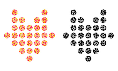 Dotted arrow down mosaic icons. Vector dotted arrow down icons in colorful and black versions. Collages of irregular round spots.