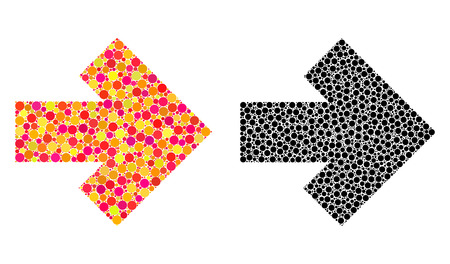 Dot arrow right mosaic icons. Vector arrow right icons in bright and black versions. Collages of arbitrary round elements. Vector collages of arrow right icons organized with irregular round dots. Çizim