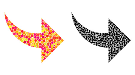 Dotted redo mosaic icons. Vector redo icons in multi-colored and black versions. Collages of variable circle dots. Vector collages of redo icons created of arbitrary round elements.