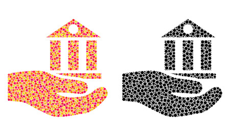 Pixel bank service mosaic icons. Vector bank service pictograms in bright and black versions. Collages of arbitrary round elements.