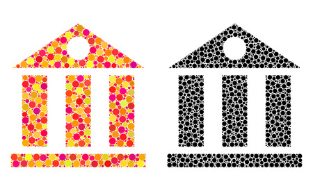 Pixel bank building mosaic icons. Vector bank building pictograms in multi-colored and black versions. Collages of arbitrary spheric spots. Çizim