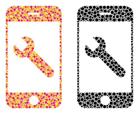Dot smartphone options wrench mosaic icons. Vector smartphone options wrench icons in colorful and black versions. Collages of arbitrary round elements.