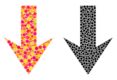 Dot arrow down mosaic icons. Vector arrow down icons in multi-colored and black versions. Collages of variable spheric spots. Vector compositions of arrow down images combined of variable spots.