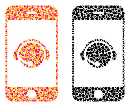 Dot smartphone operator contact head mosaic icons. Vector smartphone operator contact head icons in bright and black versions. Collages of different spheric spots.