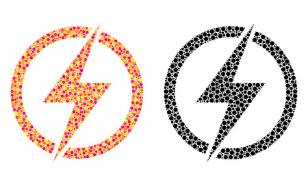 Dotted electricity mosaic icons. Vector electricity icons in colorful and black versions. Collages of arbitrary circle elements.