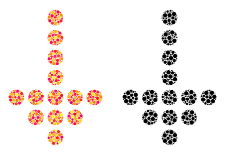 Dot dotted arrow down mosaic icons. Vector dotted arrow down icons in bright and black versions. Collages of irregular round elements.