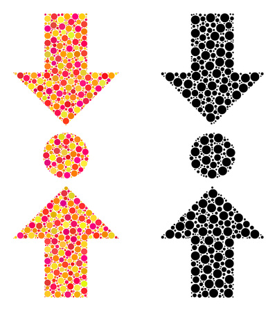 Dot pressure vertical mosaic icons. Vector pressure vertical icons in colorful and black versions. Collages of arbitrary spheric dots.