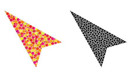 Dot arrowhead left-up mosaic icons. Vector arrowhead left-up icons in bright and black versions. Collages of different round elements.