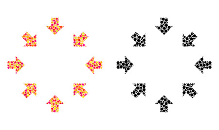 Dotted compact arrows mosaic icons. Vector compact arrows icons in bright and black versions. Collages of randomized spheric dots. Vector collages of compact arrows icons created of random dots.