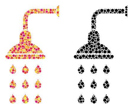 Dotted shower mosaic icons. Vector shower icons in colorful and black versions. Collages of variable circle elements. Vector compositions of shower icons combined with arbitrary circle elements. Çizim