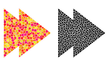 Dot move right mosaic icons. Vector move right icons in bright and black versions. Collages of arbitrary round elements. Vector collages of move right icons composed of random round dots.