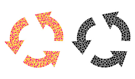 Pixel recycle mosaic icons. Vector recycle icons in bright and black versions. Collages of arbitrary round dots. Vector collages of recycle images done of randomized round elements. Çizim