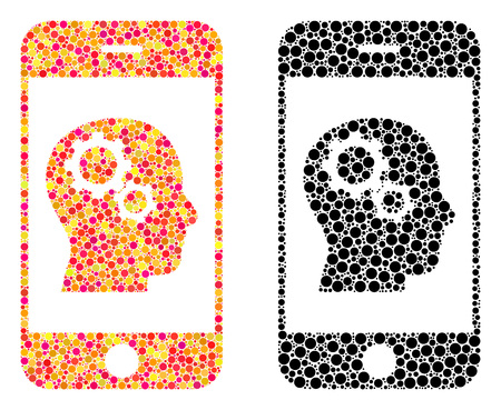 Dot smartphone intellect gears mosaic icons. Vector smartphone intellect gears icons in multi-colored and black versions. Collages of different circle spots.