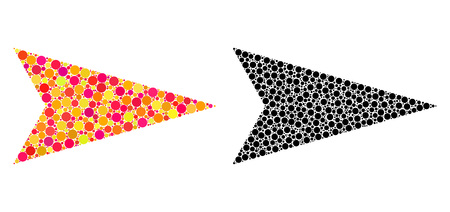 Dot arrowhead right mosaic icons. Vector arrowhead right icons in bright and black versions. Collages of arbitrary circle dots. Çizim