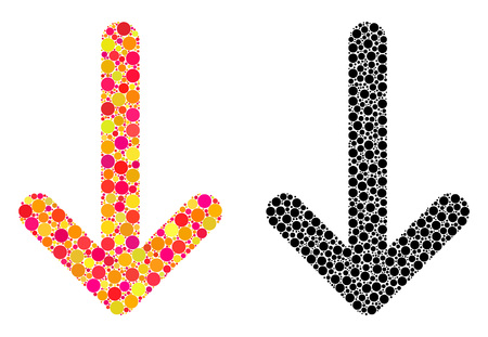 Dot arrow down mosaic icons. Vector arrow down icons in colorful and black versions. Collages of irregular spheric dots. Vector collages of arrow down icons created of random round dots.