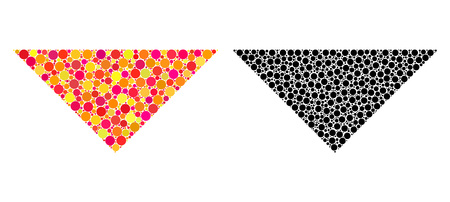 Dot arrowhead down mosaic icons. Vector arrowhead down icons in multi-colored and black versions. Collages of casual round elements.